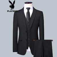 PLAYBOY 花花公子 西服套装男2021冬季男士商务正装三件套修身纯色职业西装 黑色 XL