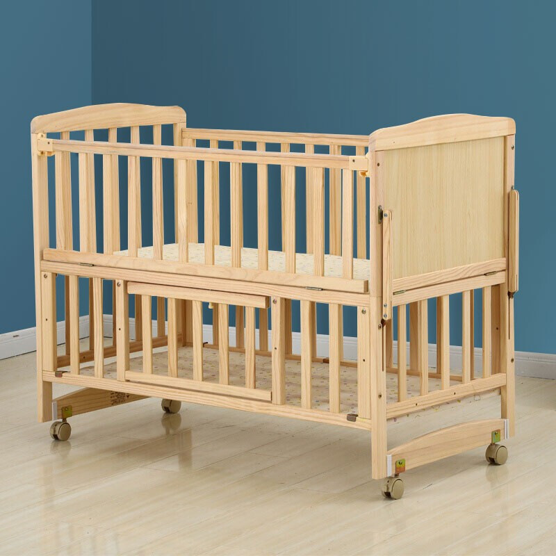 智贝婴儿床实木无漆多功能可拼接大床新生儿宝宝bb摇篮床儿童床边床ZB008