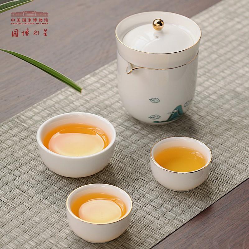 中国国家博物馆 溪山雨意快客杯 便携套装功夫茶具杯子 包装17.5x17.5x9.5cm 优质白瓷 高温烤花 纯手工描金 陶瓷茶具礼盒