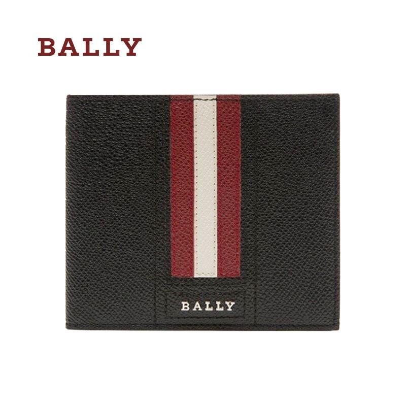 BALLY 巴利 奢侈品男士钱包男包 压纹牛皮短款钱包 多卡位 情人节礼物 6224893 黑色