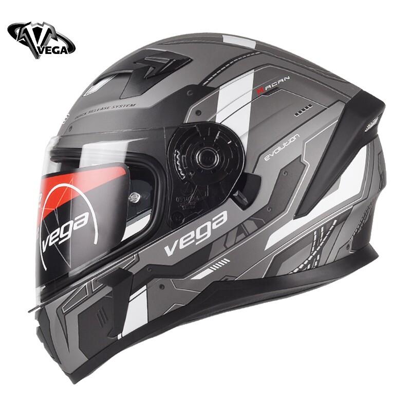 VEGA SA-39 MACAN进化论灰 L-4XL码 3C美国双镜片摩托车头盔男女四季通用全盔冬季保暖个性酷跑机车头盔