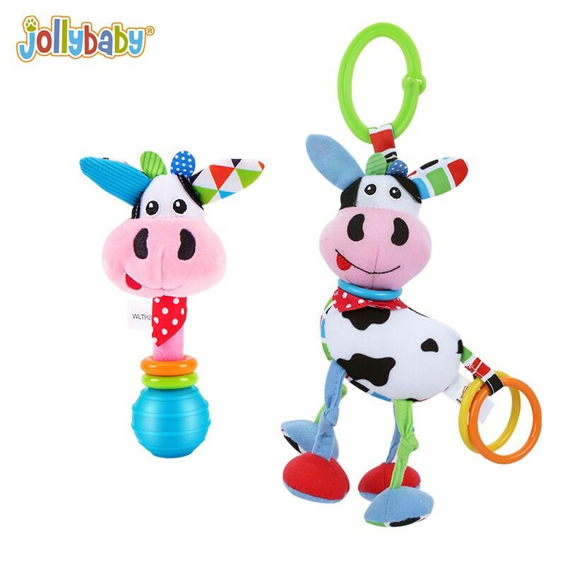 jollybaby婴儿玩具0-3个月宝宝新生儿床铃摇铃0-1岁婴儿床婴儿车挂件玩具 奶牛套装