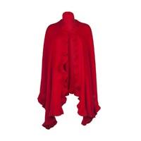 Lona Scott 洛娜斯科特紅色高級羊絨褶邊圍巾