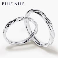 双11预售 : Blue Nile涡状戒指14K白金婚戒pt950铂金镶钻女士戒指男士对戒