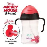 B.BOX 限量迪士尼系列-米奇款 嬰幼兒重力球吸管杯 防漏 240ml 黑紅色
