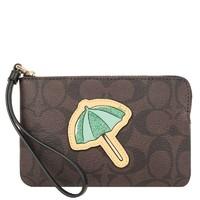 蔻馳(COACH) 拉鏈圖案特別款 皮革/涂層帆布女士手拿包 女包 零錢包 錢包 卡