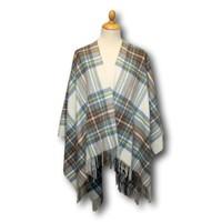 【值友專享】Gretna Green 格林小鎮純羔羊毛淡藍色斯圖爾特格子披肩毛毯 額外16%OFF