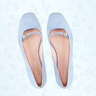 Mademoiselle R 女士麂皮方头一字扣单鞋