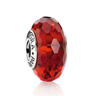 PANDORA 潘多拉 红色切割面琉璃 925银手链串饰