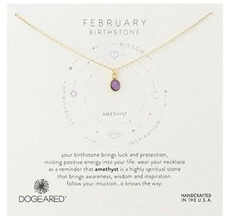 DOGEARED 二月生辰守护石 紫晶女士纯银镀金色项链