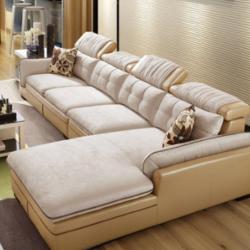 林氏木业 2040 简约仿皮转角沙发组合 1+3+贵妃位