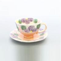 濑户烧 双面彩花图案咖啡杯套装