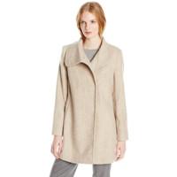 限XS码、中亚Prime会员 : Larry Levine Herringbone 女士羊毛混纺大衣