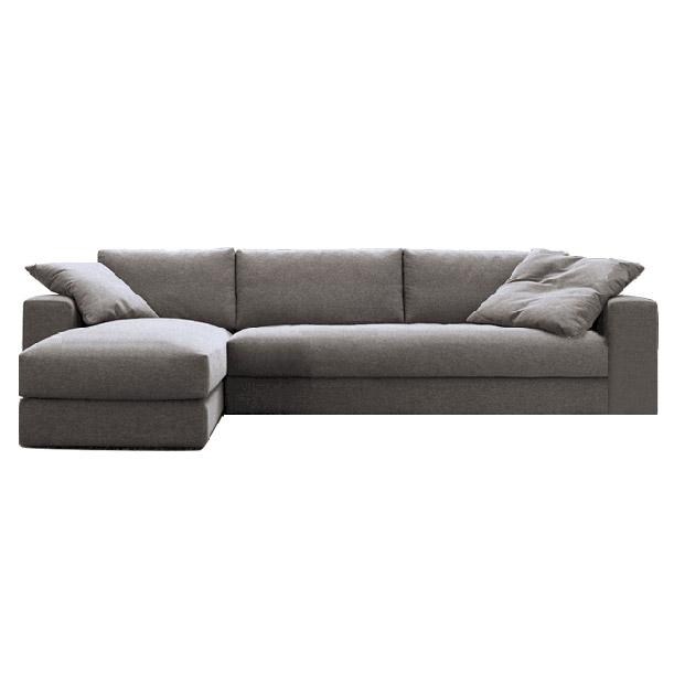 紫茉莉 北欧风格 布艺沙发组合 双人位+贵妃位 2.5m款