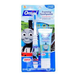 Orajel 欧乐 托马斯无氟可吞咽牙膏+牙刷套装*2套