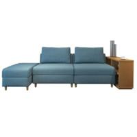 择木宜居 实木布艺沙发组合 单人位*2个+脚踏*1个+边几*1张
