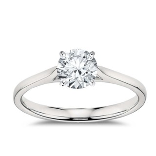 值友专享、淘金V计划 : Blue Nile 经典四爪铂金钻石戒指 订婚戒指 1克拉