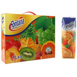 芳塔娜(Fontana)橙汁1L*4瓶 整箱礼盒装 塞浦路斯进口 果汁饮料 *2件