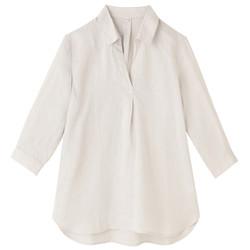 无印良品 MUJI 女式 法国亚麻七分袖束腰长上衣