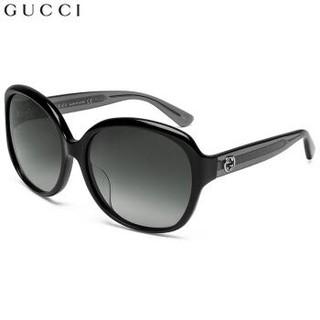 Gucci 古驰太阳镜女 2017款椭圆形框墨镜 全板材镜架 GG0080SK-002 黑色镜框渐变灰镜片 61mm