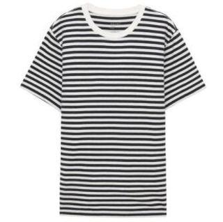 无印良品 MUJI 男式 棉条纹T恤