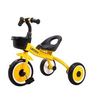 乐卡(Lecoco)儿童三轮车 避震脚踏车 三轮儿童车 乐卡童车 瑞奇免充气炫彩轮 酷炫黄+凑单品