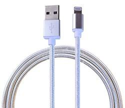 爱维杰龙 苹果2米数据线 尼龙材质编织 iPhone 7 SE 6 6s 5 5s 5c充电线 USB快速同步 支持iOS系统 USB数据线 快速充电线(银色)