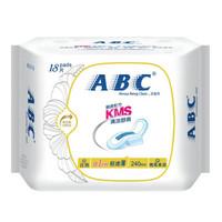 ABC 日用轻透薄棉柔表层卫生巾 18片 240mm