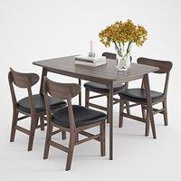 择木宜居 北欧风简约餐桌椅组合 一桌四椅