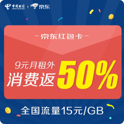 中国电信 京东红包卡(9元月租外返50%京东购物卡)