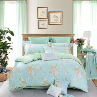 水星家纺 全棉四件套纯棉 床上用品套件床单被单被罩植物花卉 双人1.8米床 威尼斯花园(浅蓝)