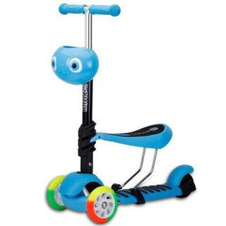 麦肯齐儿童滑板车三合一儿童三轮可坐滑轮踏板扭扭摇摆车户外玩具H1001-2 蓝色