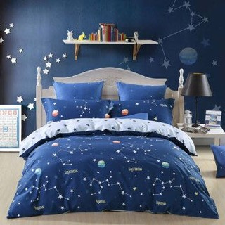 水星家纺(MERCURY) 全棉斜纹印花四件套 儿童卡通床上用品 辰星 双人1.5米床