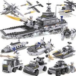 积高(COGO)军事航母积木(25种造型军舰、坦克、飞机) 塑料拼插男孩益智玩具 13007