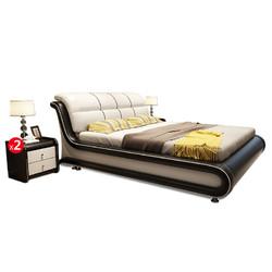 忆斧至家 时尚现代简约真皮床 标准款 1.8*2m+天然椰棕床垫 1.8*2m+床头柜 48*43*49cm*2个