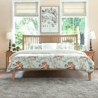 治木工坊 橡木床1.5米床1.8米双人床简约现代全实木床美式床1.2米