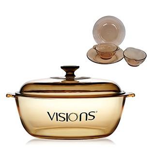 美国康宁VISIONS 晶彩透明锅4L+PYREX透明餐具4件组