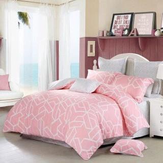 水星家纺 全棉四件套纯棉 被套床单被罩床品套件 品格宣言(玉粉) 双人1.5米床+凑单品