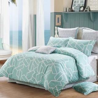 水星家纺 全棉四件套纯棉 斜纹印花床品套件床单被罩被单 品格宣言(绿色) 双人1.5米床+凑单品