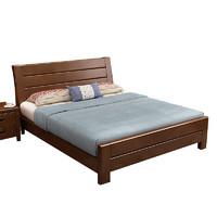 美天樂 中式實木雙人床 1.8*2米框架結構 胡桃色