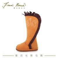 费儿的王子 女童皮靴春秋单靴