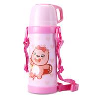 aidebar 贝瓦儿童保温杯 400ML水杯学生背带户外水壶304不锈钢真空杯 EBW-400 粉色 *2件+凑单品