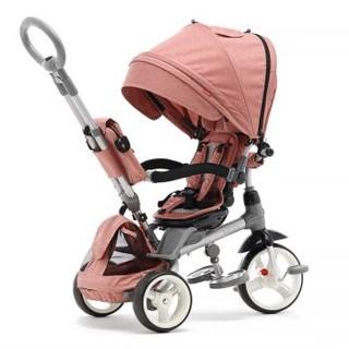 小虎子(little tiger)高景观座椅转向儿童三轮车 双离合多用宝宝手推车 小孩脚踏车婴儿车T500 山茶粉