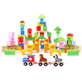 木玩世家 积木拼插玩具 100片动物森林益智积木玩具 BHW051 *2件