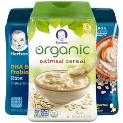 嘉宝Gerber 婴幼儿辅食   有机一段米粉组合227g (有机燕麦+DHA+燕麦米粉) *3件