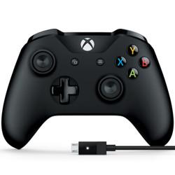 Microsoft 微软 Xbox One S 蓝牙无线手柄 黑色 + PC连接线