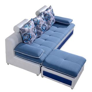 优涵家具 小户型布艺沙发 三人位+脚踏+茶几