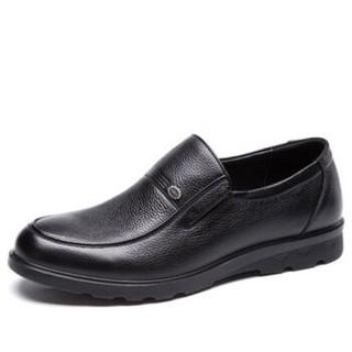 奥康(Aokang)头层牛皮套脚圆头舒适耐磨商务休闲皮鞋165011285黑色41码