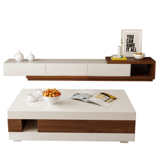 A家家具 简约拼色可伸缩 茶几电视柜组合(茶几+电视柜)