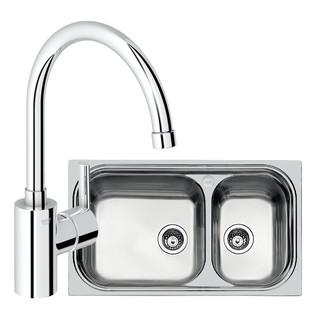 GROHE 高仪 31508SD0 不锈钢双槽水槽 + 30184000 厨房龙头